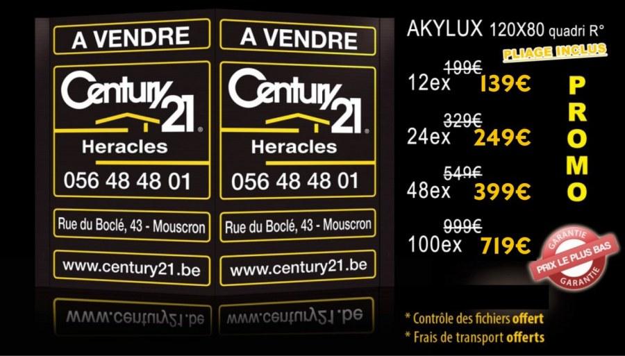 "Panneau Akylux en ""V"" - pliage en épi - 80 * 120 cm"